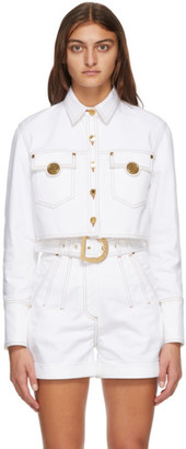 Balmain White Denim Topstitched Cropped Jacket