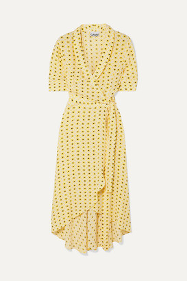 Ganni Floral-print Crepe De Chine Wrap Midi Dress - Pastel yellow