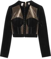 Balmain Cropped Paneled Velvet And Mesh Jacket - Black
