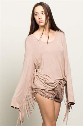 BEIGE People Outfitter Stonewashed Fringe Top