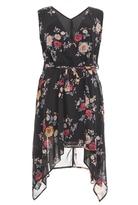 Quiz Curve Black Chiffon Floral Print Wrap Front Dress