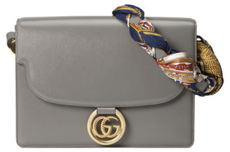 Gucci Medium Leather Shoulder Bag with Foulard Carre Flags Scarf
