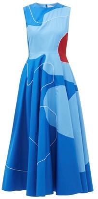 Roksanda Flora Abstract Colour-block Cotton-poplin Dress - Womens - Blue Print