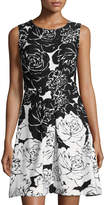Taylor Sleeveless Floral-Print Fit & Flore Dress, Black/White