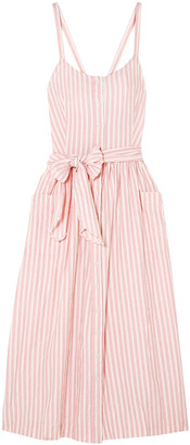 The Great The Carriage Belted Striped Cotton-poplin Midi Dress