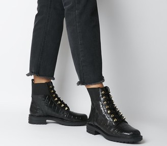 Office Alpine Elastic Topline Lace Up Boots Black Croc Leather