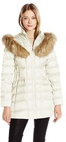 Betsey Johnson Women's 3/4 Puffer with Corset Side and Faux Fur Heart Hood