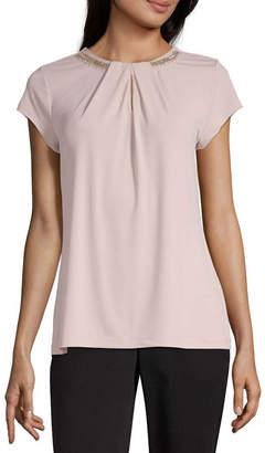 Liz Claiborne Womens Crew Neck Short Sleeve Embellished Blouse