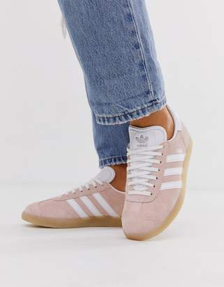 adidas peach Gazelle trainers with gum sole-Cream