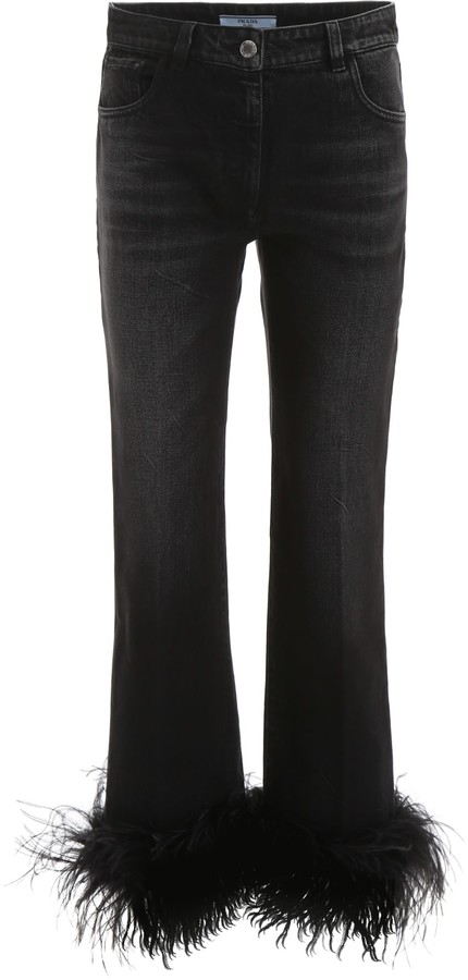 buy online 91a7b 737f2 Jeans With Ostrich Feathers