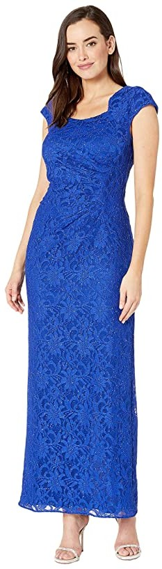 Tahari ASL Stretch Sequin Lace Cap Sleeve Gown with Horseshoe Neckline
