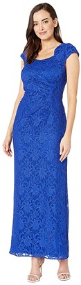 Tahari ASL Stretch Sequin Lace Cap Sleeve Gown with Horseshoe Neckline (Summer Royal) Women's Dress