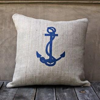 LG Designs Anchor Throw Pillow Color: Natural/Navy