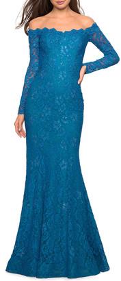 La Femme Long-Sleeve Lace Open-Back Gown