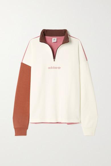 adidas Color-block Cotton-blend Jersey Sweatshirt - Off-white