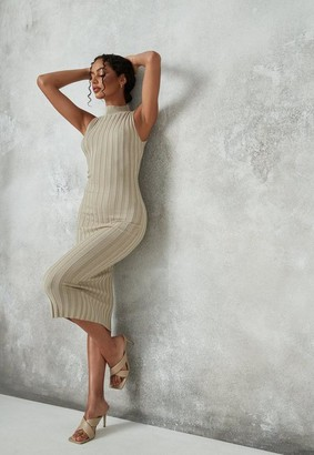 Missguided Khaki Rib Knitted Midaxi Dress