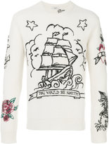 Valentino tattoo embroidered jumper