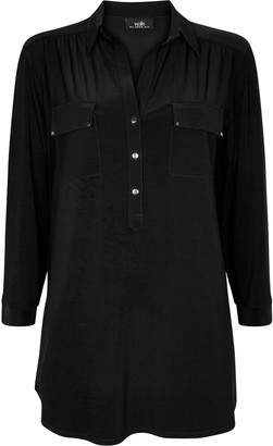 Wallis Black Button Detail Shirt