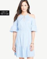 Ann Taylor Striped Poplin Cold Shoulder Dress