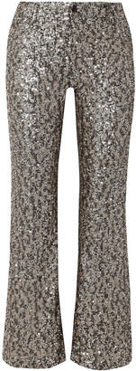 Anna Sui Twinkling Stars At Night Sequined Mesh Wide-leg Pants