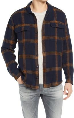Madewell Flannel Easy Long Sleeve Windowpane Plaid Button-Up Camp Shirt