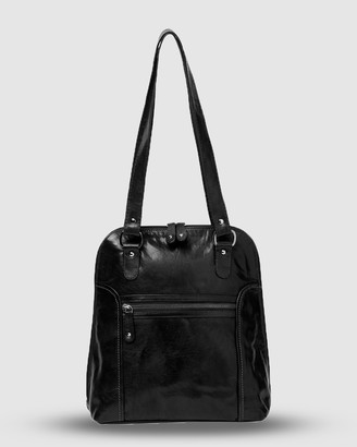 Cobb & Co - Women's Black Leather bags - Poppy Leather 2 in 1 Convertible Backpack - Size One Size at The Iconic