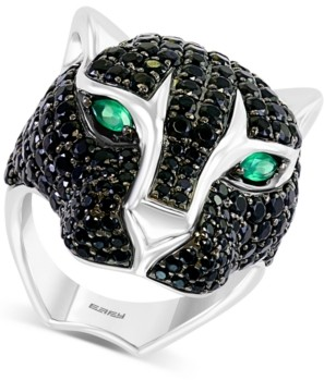Effy Black Spinel (5-7/8 ct. t.w.) & Green Onyx Cat Statement Ring in Sterling Silver