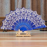 Chinese/Spanish Style Dance Wedding Party Lace Silk Folding Hand Held Flower Fan (Blue)