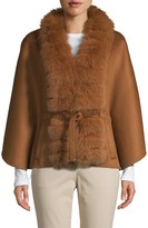 Wolfie Fur Made For Generation Fox Fur-Trim Cashmere & Wool Blend Cape