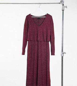 Asos Tall ASOS DESIGN Tall super soft long sleeve overlay midi dress in dark berry