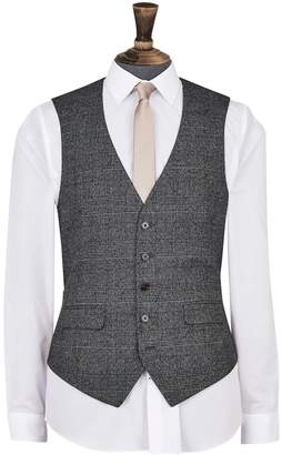 Dorothy Perkins Womens **Burton Grey And Camel Highlight Tailored Fit Check Suit Waistcoat, Grey