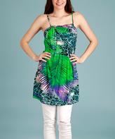 Green & Purple Jungle Sleeveless Tunic