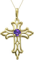 JCPenney FINE JEWELRY Genuine Amethyst 10K Yellow Gold Cross Pendant Necklace
