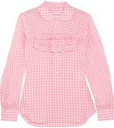 Comme des Garcons Ruffle-trimmed Gingham Cotton-poplin Shirt - Pink