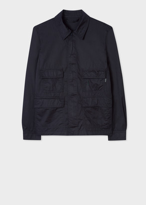 Paul Smith Men's Dark Navy Cotton-Linen Cropped Field Jacket