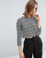 NATIVE YOUTH Jacquard Crop Long Sleeve Top