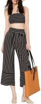 Haoduoyi Womens Casual Striped Contrast Loose Wide Leg Pants(XL,)