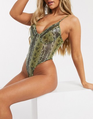 Love & Other Things sheer lace bodysuit in snake