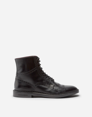Dolce & Gabbana Calfskin Full Brogue Ankle Boots