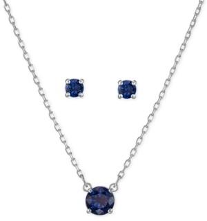 Swarovski Silver-Tone Crystal Pendant Necklace & Stud Earrings Set