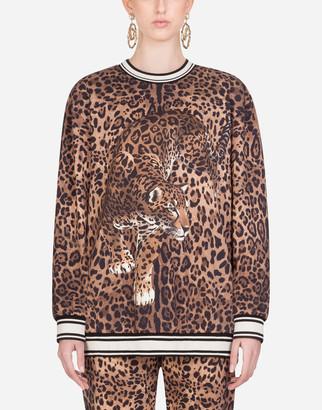 Dolce & Gabbana Round-Neck Jersey Sweatshirt With Leopard Print