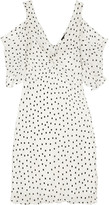 McQ by Alexander McQueen Cold-shoulder Polka-dot Georgette Mini Dress - Off-white