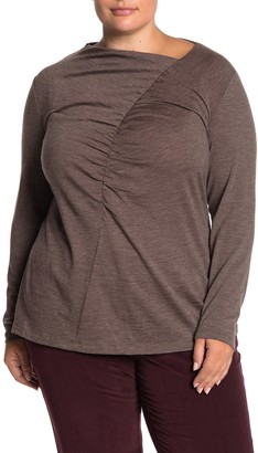 Lafayette 148 New York Asymmetrical Ruched Wool Blend Long Sleeve Top (Plus Size)