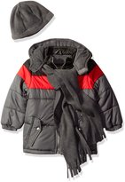 iXtreme Little Boys' Toddler Colorblock Puffer with Scarf and Hat