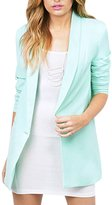 HaoDuoYi Womens Casual Slim Lapel Neck Single Button Long Sleeve Blazer(L,)