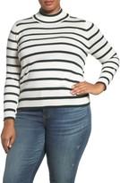 Melissa McCarthy Plus Size Women's Stripe Mock Neck Sweater