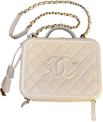 Chanel Vanity White Leather Handbags