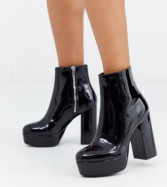 Monki platform faux leather high heel boots in black