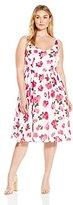 BB Dakota Women's Plus-Size Clarabelle Large Floral Printed Reverse Crepon Dress