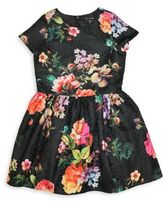 Ava and Yelly Girl's Floral Brocade Dress